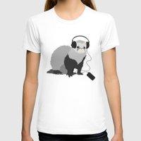 ferret T-shirts featuring Music Loving Ferret by Boriana Giormova