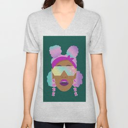 Top Puffs Girl #naturalhair #rainbowhair #shades #lipstick #blackunicorn #curlygirl Unisex V-Neck
