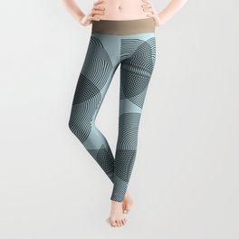 Abstract Floral Beige - Mid Century Modern Geometric Minimalist Leggings