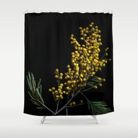 soviet Shower Curtains featuring Silver Wattle Flowers by digital2real