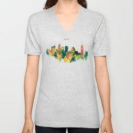 Atlanta Watercolor Skyline Unisex V-Neck