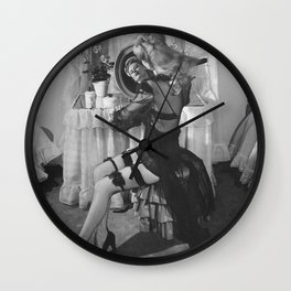 Arsenic and Old Lace; Woman with stockings and garder belt black and white photography - photograph Wall Clock