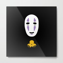 No Face Giving Gold Metal Print