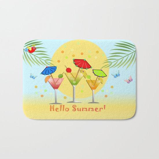 Hello Summer, vector illustration with text Bath Mat