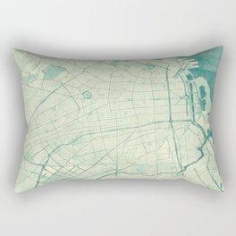 Buenos Aires Map Blue Vintage Rectangular Pillow