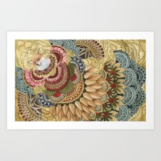 Asleep in the Quilted Forest: The Fox Art Print