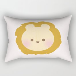Lion Head - Pink Rectangular Pillow