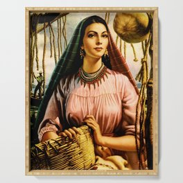 Jesus Helguera Painting of a Mexican Fisher Girl With Basket Serving Tray