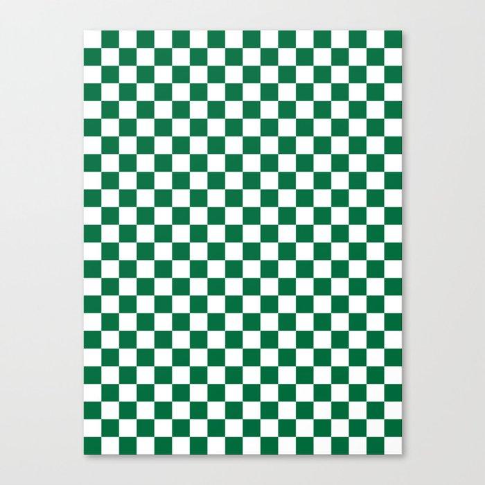 White and Cadmium Green Checkerboard Leinwanddruck