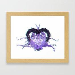 Anaglyph - romantic swan couple Framed Art Print