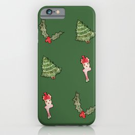 Happy Cheer with a Holiday Deer - Watercolor and Graphic Art Design iPhone Case