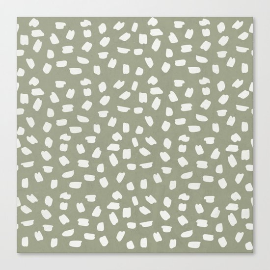 Simply Ink Splotch Lunar Gray on Green Tea Canvas Print