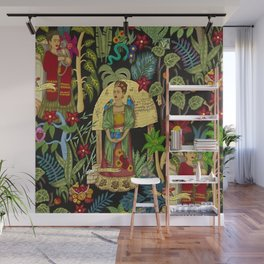 The  Coyoacán Mexican Garden of Casa Azul - Lush Tropical Greenery and Floral Landscape Painting Wall Mural
