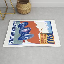 1937 PAU Grand Prix Automobile Race Poster Rug