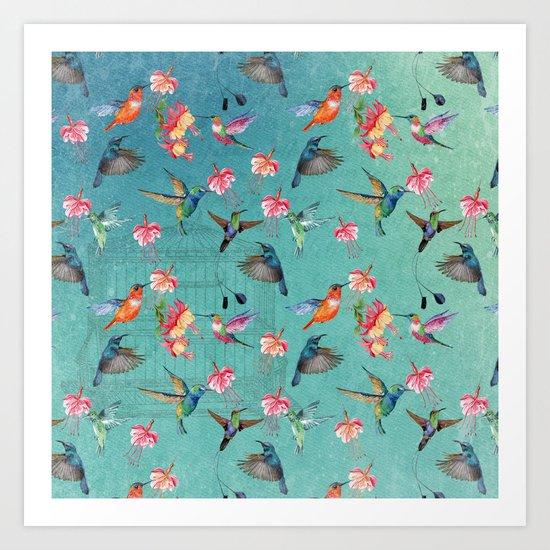 Vintage Watercolor hummingbirds and fuchsia flowers by originalaufnahme