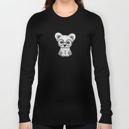 Cute Polar Bear Cub with Eye Glasses on Teal Blue Long Sleeve T-shirt