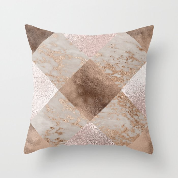 Copper and Blush Rose Gold Marble Gingham Throw Pillow