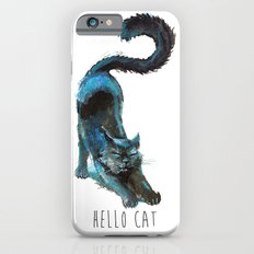 Black Blue Cat Stretching Drawing  Slim Case iPhone 6s