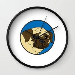 Pug - Blue Spot Wall Clock