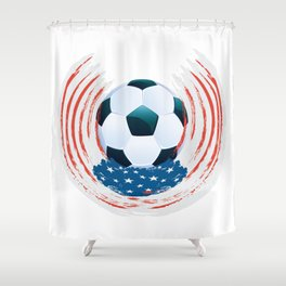 Football Ball and red, white Strokes Shower Curtain