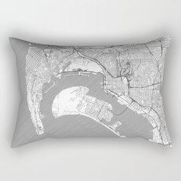 San Diego Map Line Rectangular Pillow