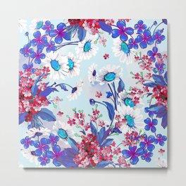 Cool blue floral garland texture Metal Print