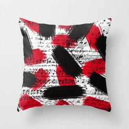 Red Black Piano Throw Pillow