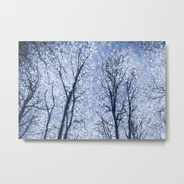 The Snow Forest  Blue Art Abstract Metal Print