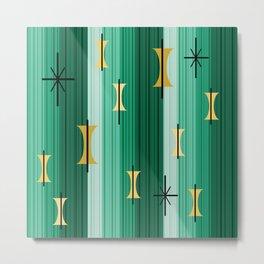 Groovy Lined Mid Century Modern Turquoise Metal Print