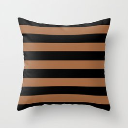 Black and brown stripes Throw Pillow