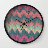 ikat Wall Clocks featuring IKAT CHEVRON by Nika