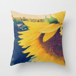 sunflower and little bee Throw Pillow