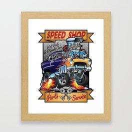 Speed Shop Hot Rod Muscle Car Parts and Service Vintage Cartoon Illustration Framed Art Print