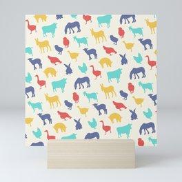 Best animal silhouette pattern design Mini Art Print