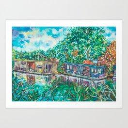 Dutch houseboat Art Print
