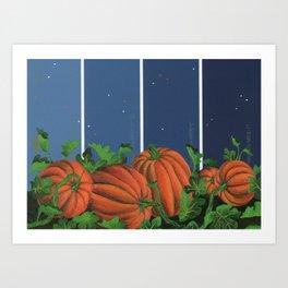 Pumpkin Patch at Night on Blues Art Print