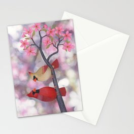 cardinals and crab apple blossoms Stationery Cards