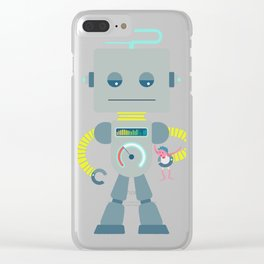 Retro Toy Robot Robo Ludens Clear iPhone Case