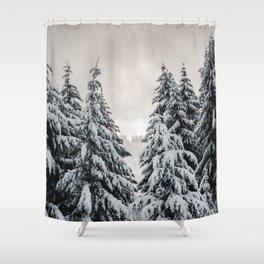 Winter Woods II - Snow Capped Forest Adventure Nature Photography Shower Curtain