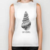 seashell Biker Tanks featuring Cosy Seashell by jez bird