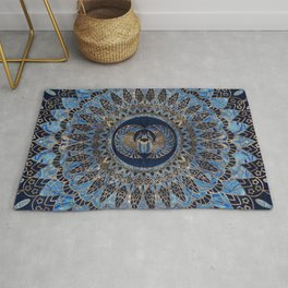 Egyptian Scarab Beetle Gold and Blue marble Rug