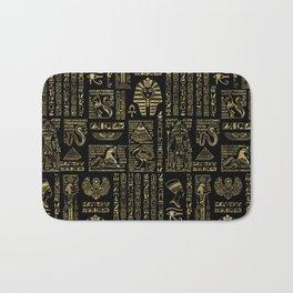 Egyptian hieroglyphs and deities gold on black Bath Mat
