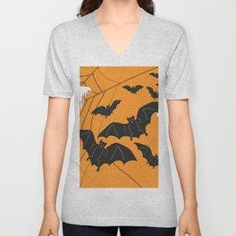 Flying Ghosts & Bats Halloween orange Unisex V-Neck