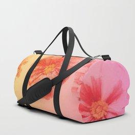 Orange Gradient Flower Grid Duffle Bag