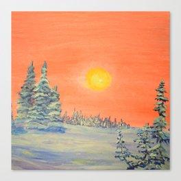 winter trees snow and sun . Canvas Print