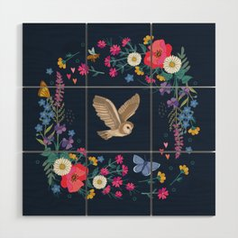 Owl and Wildflowers Wood Wall Art