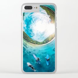Surfing in the Summer, with the Sea All Around Us Clear iPhone Case