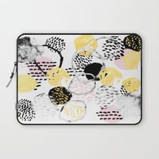 Amalia - gold abstract black and white glitter foil art print texture ink brushstroke modern minimal Laptop Sleeve