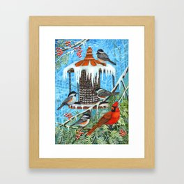Birds on Ice Framed Art Print