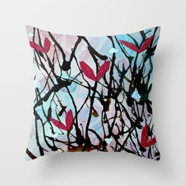 Blown Ink Painting Collage Throw Pillow
